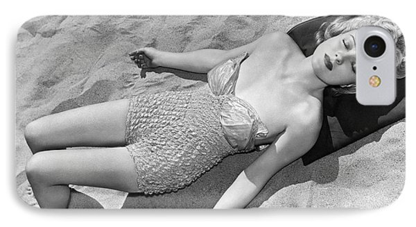 Woman Sun Bathing At The Beach IPhone Case by Underwood Archives