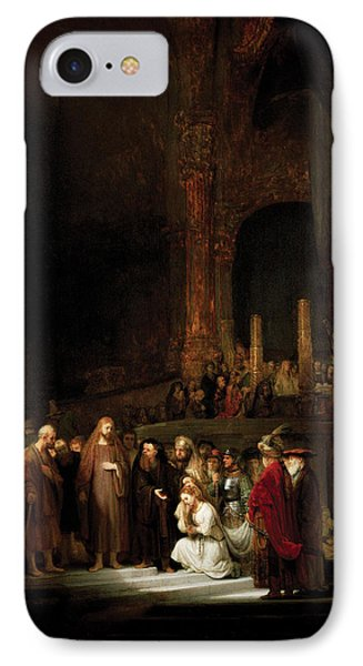Woman Taken In Adultry To Jesus IPhone Case by Rembrandt