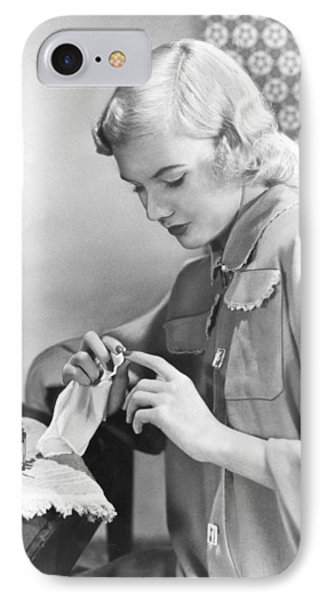 Woman Taking Care Of Her Nails IPhone Case by Underwood Archives