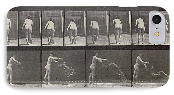 Woman Throwing A Bucket Of Water Phone Case by Eadweard Muybridge