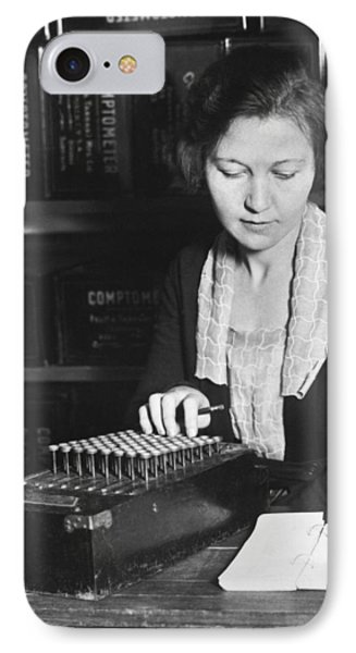 Woman Using A Comptometer IPhone Case by Underwood Archives