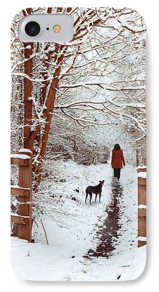 Woman Walking Dog IPhone Case