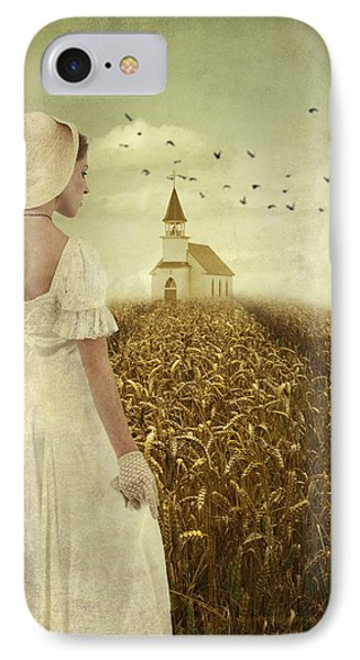Woman Walking Towards Old Church In Cornfield IPhone Case by Ethiriel  Photography