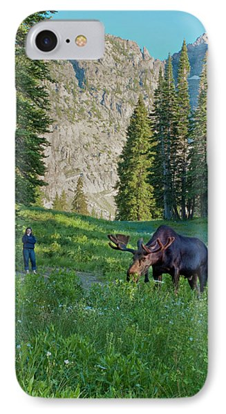 Woman Watching Bull Moose, Albion IPhone Case by Howie Garber