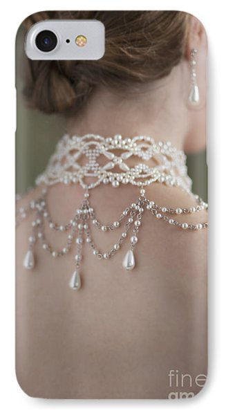Woman Wearing A Pearl Necklace And Earring Set Phone Case by Lee Avison