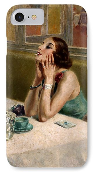Woman With A Cigarette IPhone Case by Henri Thomas