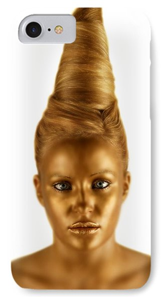 Woman With A Golden Face Phone Case by Darren Greenwood