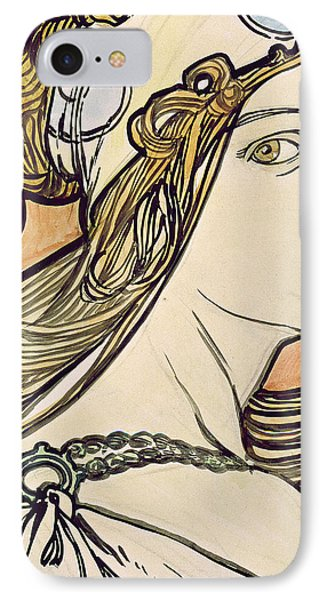 Woman With A Headscarf IPhone Case by Alphonse Marie Mucha