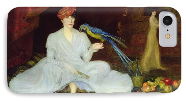 Woman With A Parrot, 1905 Oil On Canvas IPhone Case by Georges Bottini