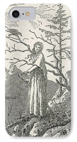 Woman With A Raven On The Edge Of A Precipice Phone Case by Caspar David Friedrich