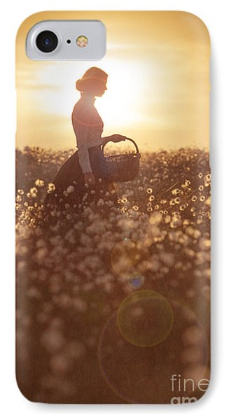 Woman With A Wicker Basket At Sunset Phone Case by Lee Avison