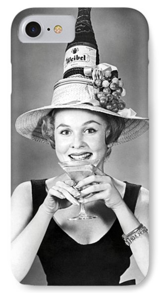 Woman With Champagne Hat IPhone Case by Underwood Archives