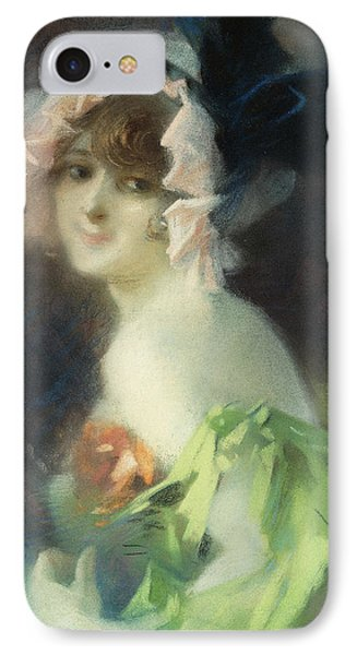 Woman With Gloves IPhone Case by Jules Cheret