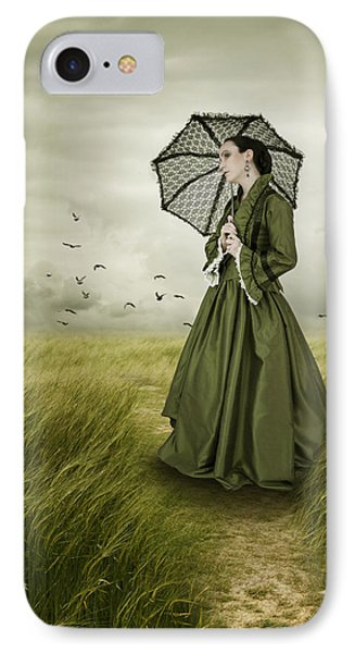 IPhone Case featuring the photograph Woman With Parasol Standing In Green Field by Ethiriel  Photography