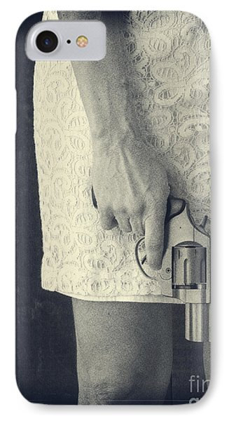 Woman With Revolver IPhone Case by Edward Fielding