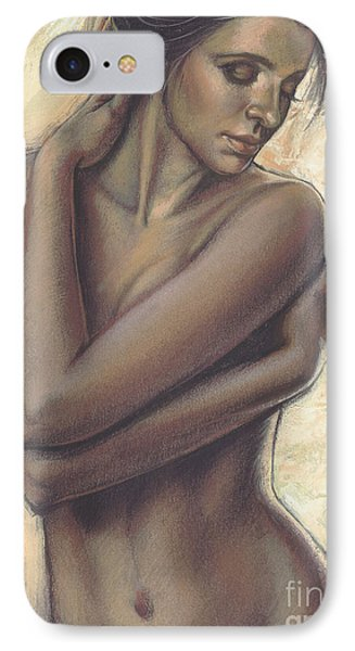 Woman With White Drape Crop IPhone Case by Zorina Baldescu