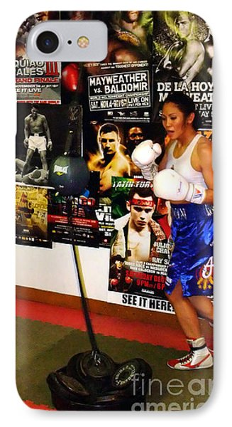 Woman's Boxing Champion Filipino American Ana Julaton Working Out Phone Case by Jim Fitzpatrick