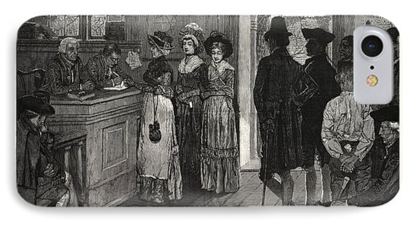 Women At The Polls In New Jersey In The Good Old Times, Us IPhone Case by Pyle, Howard (1853-1911) (after), American