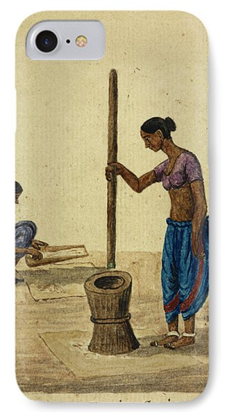Women Cleaning Grain IPhone Case by British Library