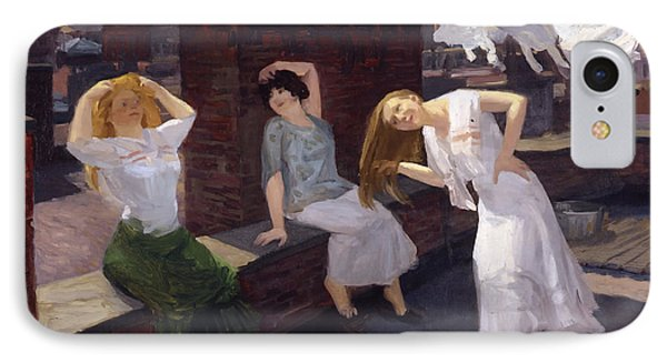 Women Drying Their Hair 1912 IPhone Case by Mountain Dreams