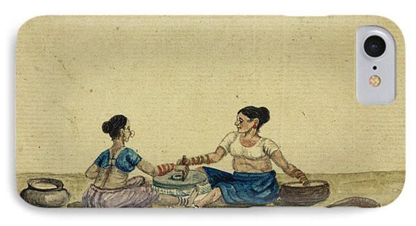 Women Grinding Flower IPhone Case by British Library