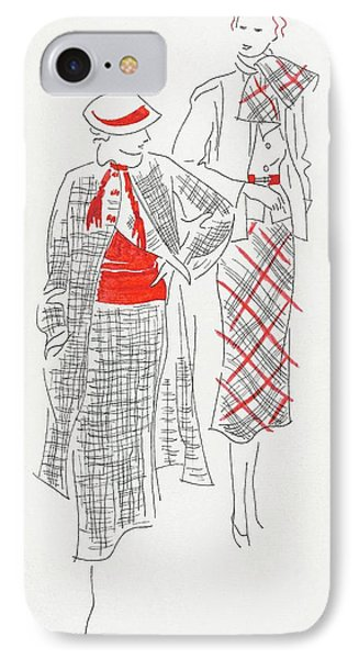 Women Wearing Tweed And Plaid IPhone Case by Artist Unknown