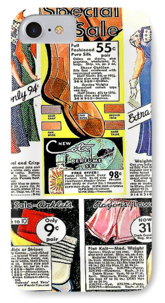 IPhone Case featuring the photograph Women's Dresses 94 Cents. 1934 Ward's Catalog Page by Merton Allen
