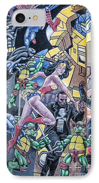 IPhone Case featuring the mixed media Wonder Woman Abstract by Terry Rowe