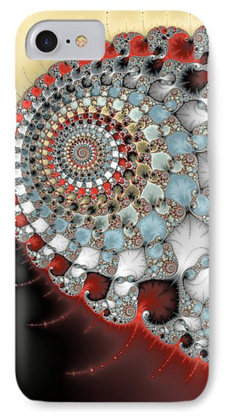 Wonderful Abstract Fractal Spirals Red Grey Yellow And Light Blue IPhone Case by Matthias Hauser