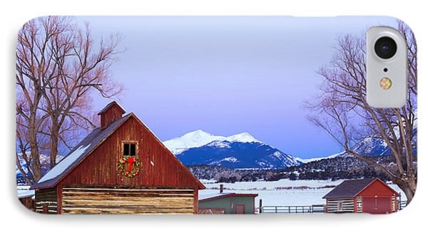 Wood Barn Wlighted Holiday Wreath & IPhone Case by Michael DeYoung