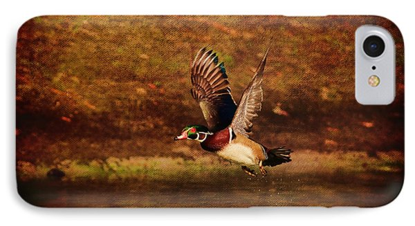 Wood Duck Taking Off Phone Case by Deborah Benoit