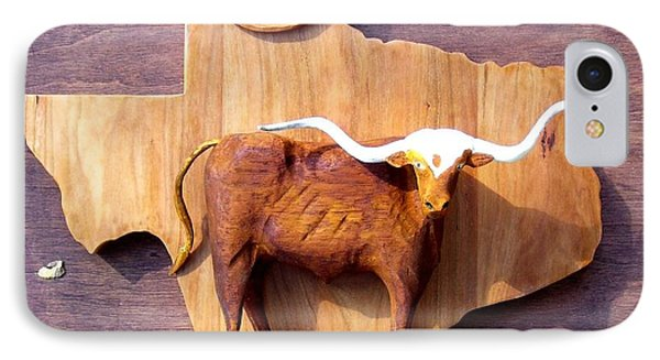 Woodcrafted Texas Longhorn IPhone Case by Michael Pasko
