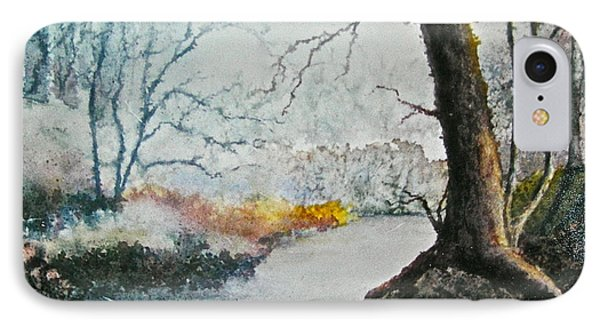 IPhone Case featuring the painting Wooded Stream by Carolyn Rosenberger
