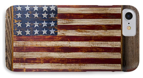 Wooden American Flag On Wood Wall Phone Case by Garry Gay