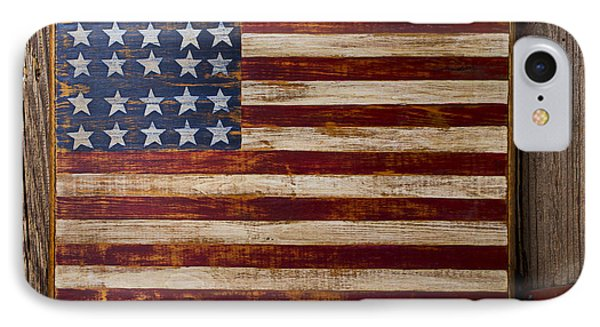 Wooden American Flag On Wood Wall IPhone Case by Garry Gay