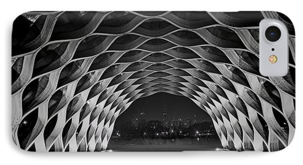 Wooden Archway With Chicago Skyline In Black And White Phone Case by Sven Brogren