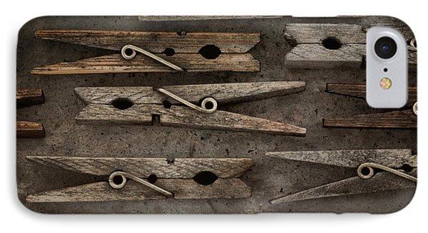 Wooden Clothespins Phone Case by Priska Wettstein