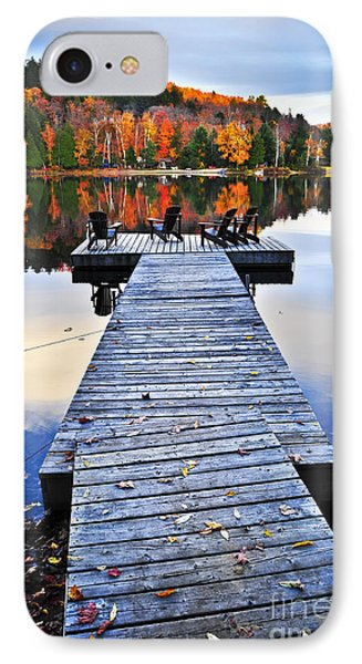 Wooden Dock On Autumn Lake Phone Case by Elena Elisseeva