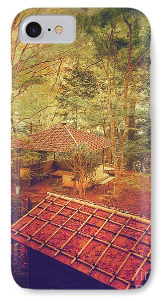 Wooden Gazebo And Small Shed In Forest IPhone Case by Beverly Claire Kaiya