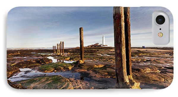 Wooden Posts At The Water S Edge IPhone Case by John Short