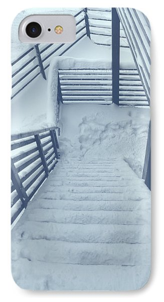 Wooden Steps Covered With Snow IPhone Case by Vlad Baciu