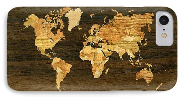 Wooden World Map Phone Case by Hakon Soreide