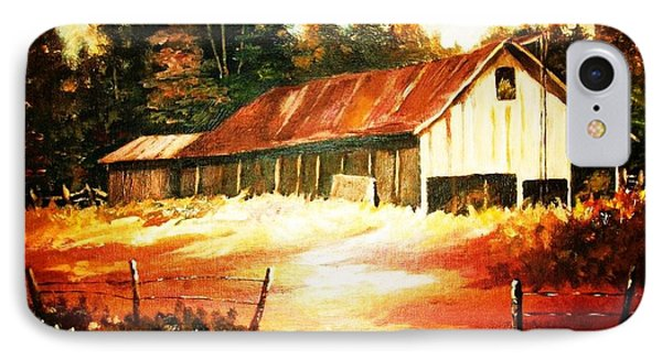 IPhone Case featuring the painting Woodland Barn In Autumn by Al Brown