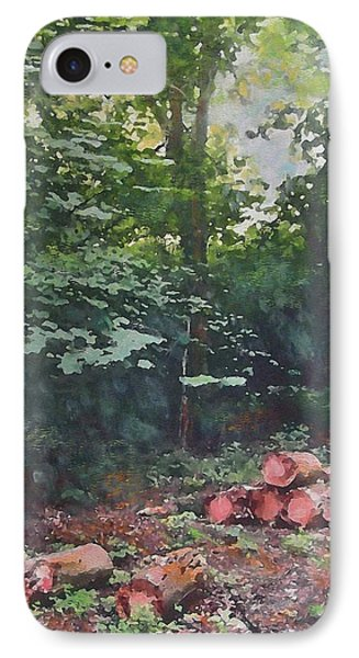 IPhone Case featuring the painting Woodland Glade In Peebles by Richard James Digance