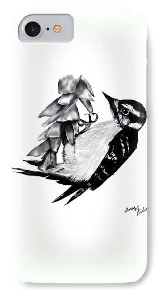 IPhone Case featuring the drawing Woodpecker by Terry Frederick