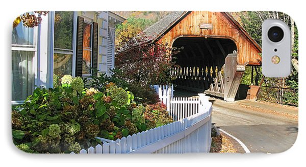 Woodstock Vermont Middle Covered Bridge  0179 IPhone Case by Jack Schultz