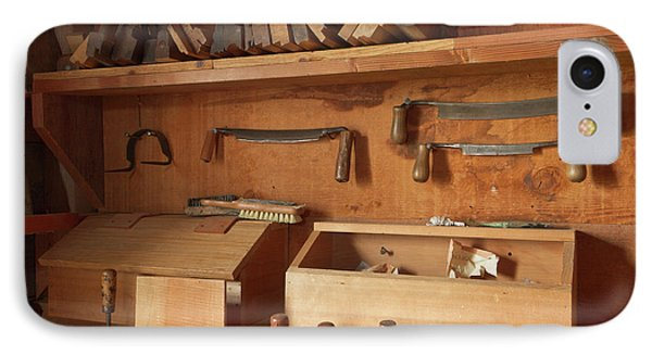 Woodworking Tools In Carpentry Shop IPhone Case by William Sutton