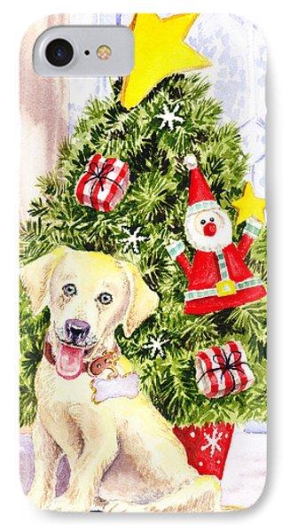 Woof Merry Christmas Phone Case by Irina Sztukowski