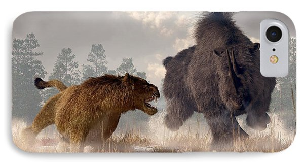 Woolly Rhino And Cave Lion Phone Case by Daniel Eskridge
