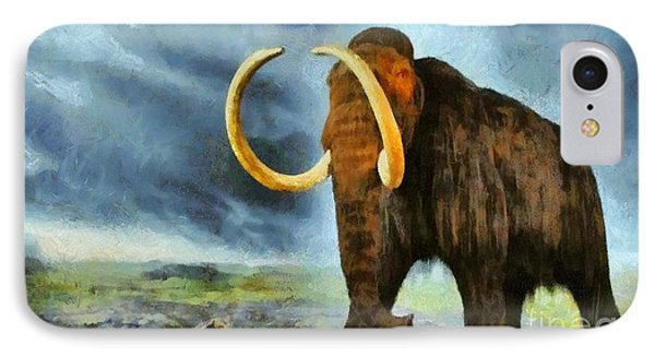 IPhone Case featuring the painting Wooly Mammoth by Elizabeth Coats